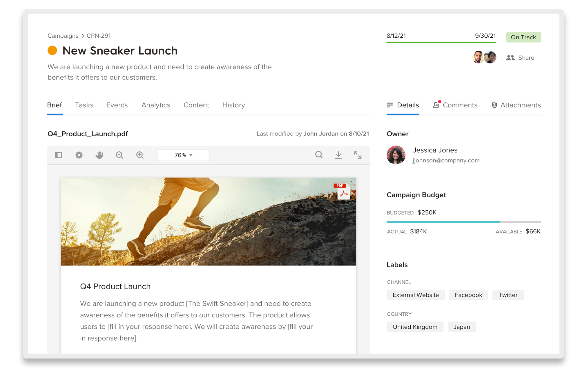 Welcome Campaign Management view