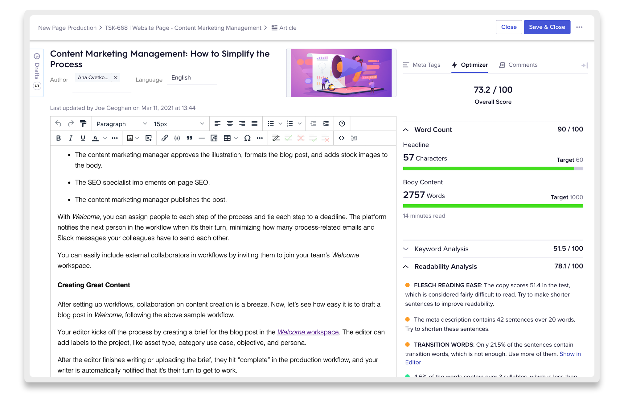 Welcome Content Editor view